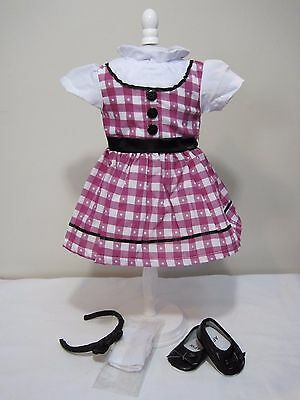 1950s Gingham School Dress Shoes Socks for 18 Inch American Girl Doll Maryellen