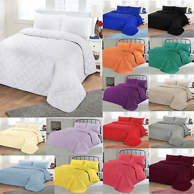 Luxurious Plain Colour Soft Quilted Embossed Bedspread Quilt Throw Double King