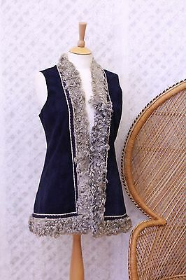 Vintage navy embroidered afghan suede Sheepskin waistcoat gilet 60s 70s jacket S