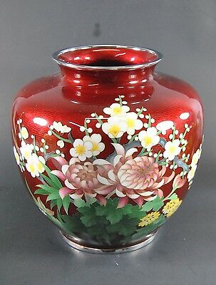 Japanese Red Cloisonne Vase with Apple Blossoms and Chrysanthemums