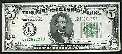 "Fr. 1952-L 1928-B $5 Five Dollars Frn Federal Reserve Note ""gold On Demand"" Xf"
