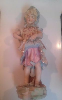 "Arnart Creations. 7954 Japan. 10.75"" Tall Porcelain Victoria Girl with Raised Sk"