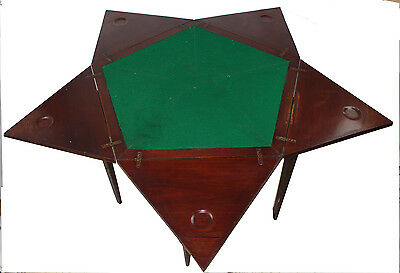 Antique Folding Envelope English Game Table Open W Inlaids & Swivel Top