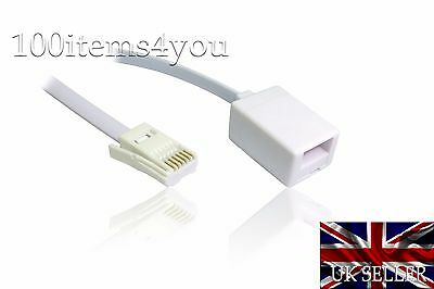 Telephone Extension Cable RJ11 10m UK Male to Female BT Phone Fax Modem ADSL