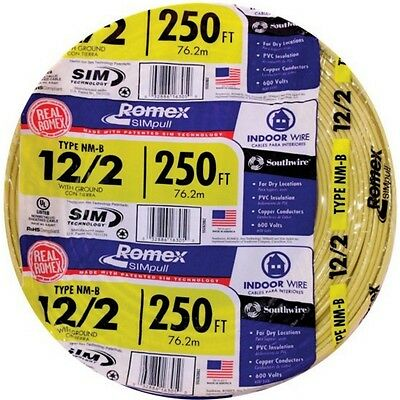 250-Ft Roll Coil 12-2 Gauge AWG Romex Electrical Copper Wire NM-B Cable Indoor