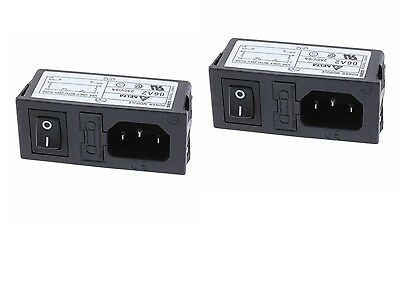 2 Delta Electronics Fused Power Entry Module 250V AC 6A w/ ON-OFF Switch 06A2