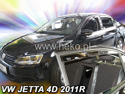 VW Jetta MK 6 Yrs 11 - on   4 Piece Tinted Wind Deflectors Front & Rear Doors