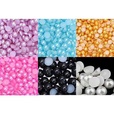 10000Pcs/pack 4mm Embellishment Scrapbooking Half Round Flat Back Pearl Beads