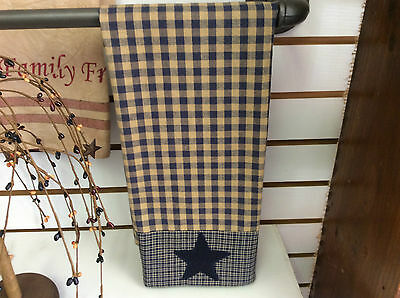 Primitive country farmhouse embroidered star hand towel navy check cabin rustic