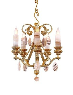 Old French Petite 5 Light Hand Crafted Wrought Iron Chandelier