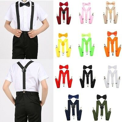 Kids Adjustable Clip-on Braces Elastic Y-back Suspender and Bow Ties Set Party