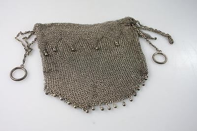 Antique Victorian Sterling Silver Mesh Chainmail Evening Coin Purse