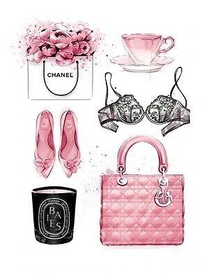 CHANEL NO 5  PERFUME ACCESSORIES ART IMAGE A4 Poster Gloss Print Laminated