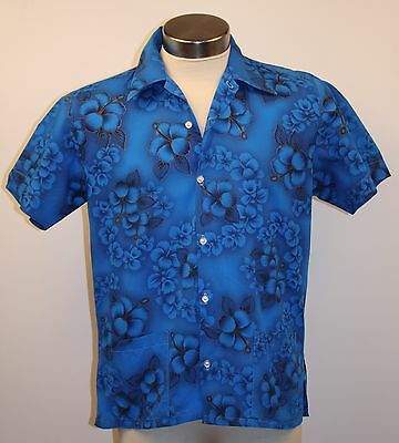 Large, Mens, Blue, Hawian Short Sleeve Vintage Shirt. Cotton. Home Made.