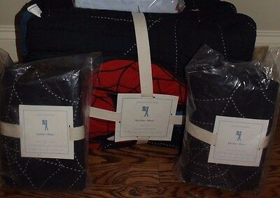 NWT Pottery Barn Kids Spiderman FQ quilt & 2 std or euro shams full queen f/q