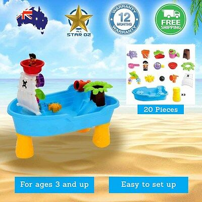 Kids Pirate ship Sand and Water Children Activity Play Table Outdoor Toy Set