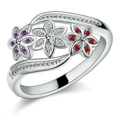 Newest Women 925 Sterling Silver Plated Crystal Zircon Ring Size 7-9 Lady Ring