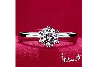 Italina 1carat 6mm CZ wedding Rings for women Anel 925 sterling silver Jewelry