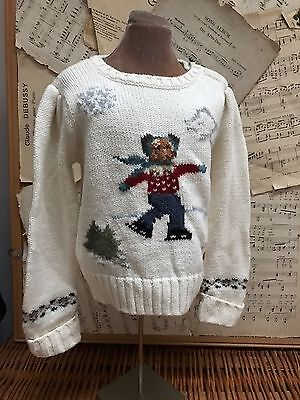 Ralph Lauren SKATING TEDDY BEAR Sweater Ivory 3 Girls Snowflake Buttons 3T