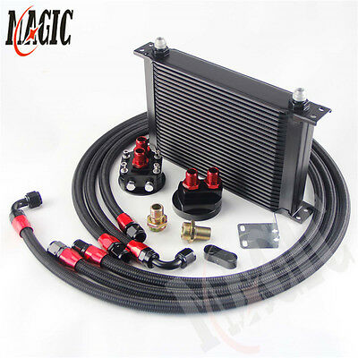 25 Row AN-8/AN8 Engine Oil Cooler Black+ Filter Relocation hose Kit
