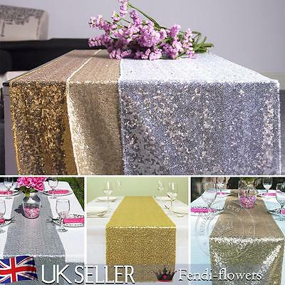 Gold/Silver/Champagne Glitter Sequin Table Runner Sparkly Wedding Party Decor