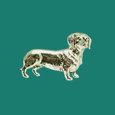 Cute Silver Dachshund Sausage Dog Lovers Gift Brooch Hat Tie Pin