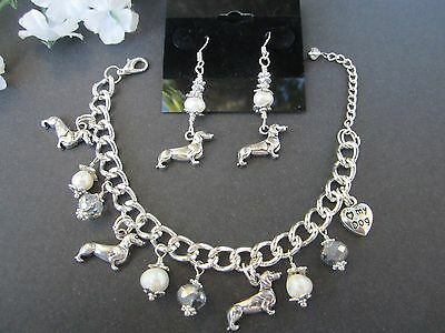 Dachshund Weiner Dog Charm Bracelet & Earrings with F. Water Pearls &  Crystals