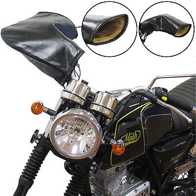 Motorcycle Traditional Classic Vintage Black Motorbike Handlebar Muffs Lined