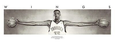 001 Solid Wooden Framed - Kevin Durant Wings NBA 28x14 inch Poster