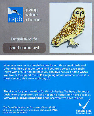 RSPB Pin Badge | Short Eared Owl | GNaH backing card [00517]