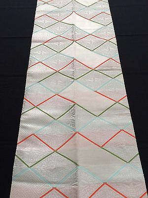 Authentic Japanese tsuke obi for kimono, waist part only, silver (I747)