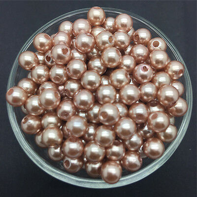 DIY 30PCS 10mm Light Brown Acrylic Round Pearl Spacer Loose Beads Jewelry Making