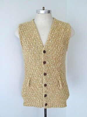 Vtg 60s Rat Pack Mottled Brown Chunky Wool Blend Knit Cardigan Sweater Vest M