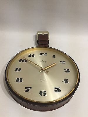 JUNGHANS 60er 70er Jahre Wanduhr Design 60s 70s Wall Clock Brass & Leather *****