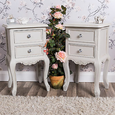 Grey bedside table pair shabby vintage chic chest ornate bedroom furniture home