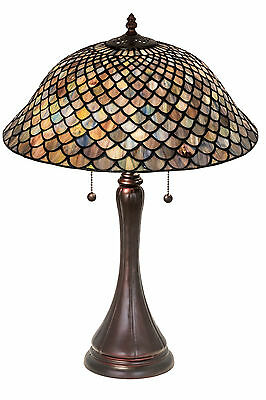 """Meyda Lighting 28369 23""""H Stained Glass 2-Light Fishscale Table Lamp"""