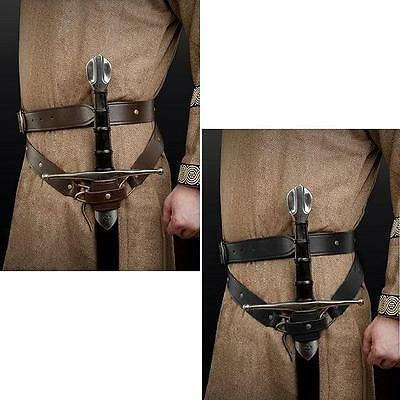 Medieval Double Wrap Leather Sword Belt - Comes Brown Or Black