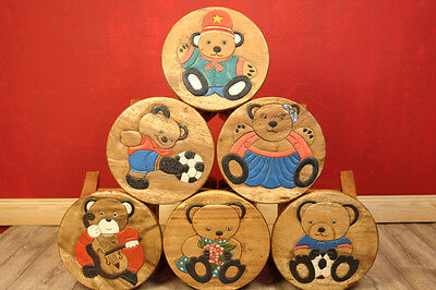 Children Stool Kid's room Furniture Acacia Solid Wood colourful Motifs Chair