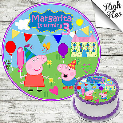 """Peppa Pig 7.5"""" Round Edible Birthday Cake Topper Decoration Personalised"""