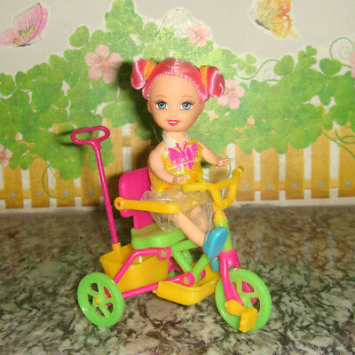 Dollhouse Kelly Dolls Tricycle W/ Push Hand for 4'' Dolls Playing Set Random