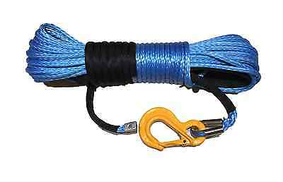30.5 Metre 8mm Blue Synthetic Winch Rope  Dyneema SK75 Off Road heat protected