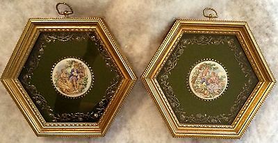 Antique Gold Wood Picture Frames W / Medallions Boucher Clifford Art Studio