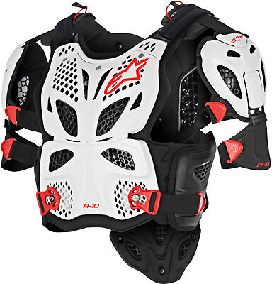 ALPINESTARS A-10 FULL CHEST PROTECTOR WHITE/BLACK/RED X/2X NEW X-Large/XX-Large