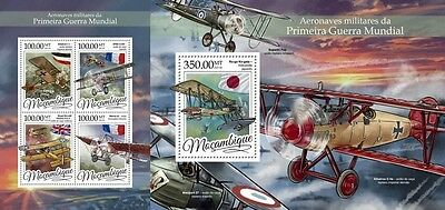Z08 IMPERFORATED MOZ16317ab MOZAMBIQUE 2016 Military aircrafts of WWI MNH Set