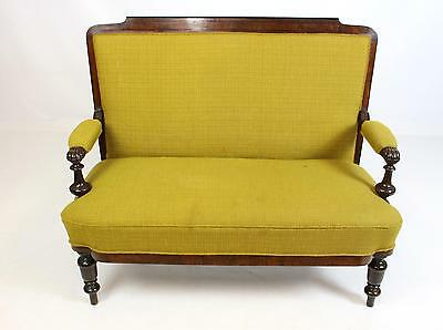 Antique Victorian Mahogany 2 Seat Upholstered Sofa Settee