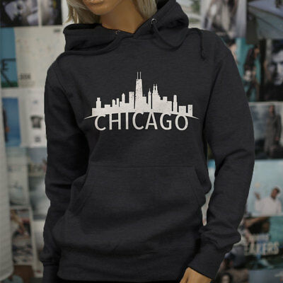 8337529f85436e CHICAGO SKYLINE ILLINOIS PRIDE SEARS TOWER PROUD Womens Charcoal Hoodie