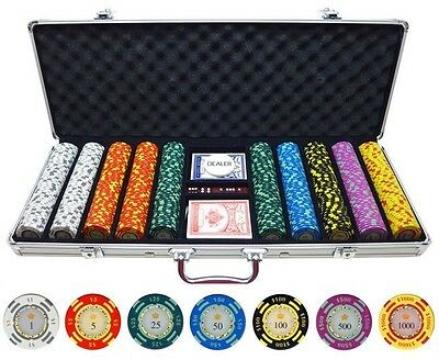 Poker Chip Set 500 PIECES Crown Casino 13.5-gram Clay Good for 5-8 Players NEW