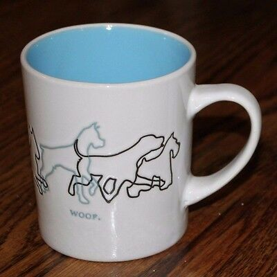 New! 13 oz. Mainstays Dog Woof Mug Cup, White with Blue Interior