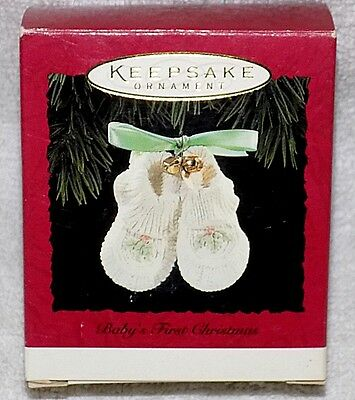 New! Porcelain - Baby's First Christmas - Baby Shoes - 1994 Hallmark Ornament