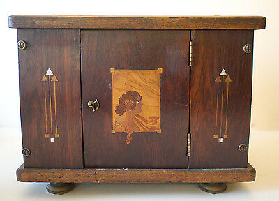 Antique Art Nouveau Inlaid Marquetry Wooden Cabinet Box w/ Female Face MOP inlay